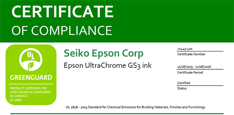 Greenguard certification epson