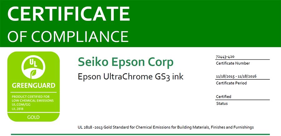 Greenguard gold certification epson